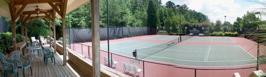 Six Floodlite Tennis Courts