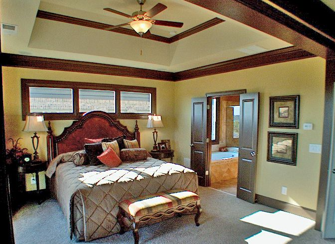 Spacious Master Bedroom With Sitting Room, Trey Ceilings And Full Length Windows.